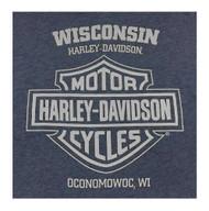 Harley-Davidson Men's Varsity H-D Short Sleeve Crew Neck T-Shirt, Denim Heather - Wisconsin Harley-Davidson