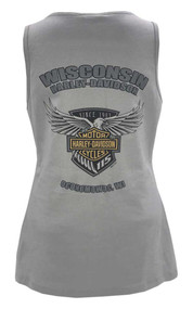 Harley-Davidson Women's 115th Anniversary Flight Badge Sleeveless Tank, Gray - Wisconsin Harley-Davidson