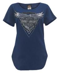 Harley-Davidson Women's 115th Chromaversary Curved Hem Short Sleeve Tee, Navy - Wisconsin Harley-Davidson