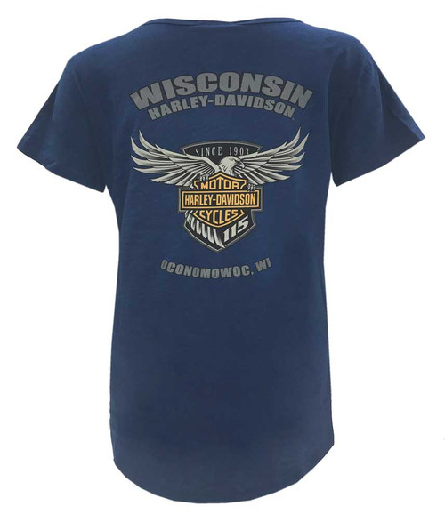 Harley-Davidson Women's 115th Chromaversary Curved Hem Short Sleeve Tee, Navy - Wisconsin Harley-Davidson