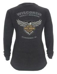 Harley-Davidson Women's 115th Anniversary Glittery Wings Thermal Shirt, Gray - Wisconsin Harley-Davidson
