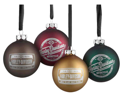 Harley-Davidson® Set of 4 Glass Ball Ornaments, 2 Seasonal ...