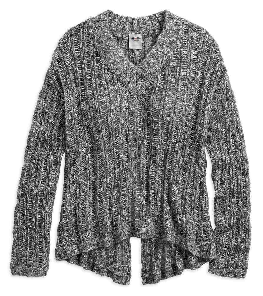 Harley Davidson Womens Split Back V Neck Open Stitch Sweater Gray