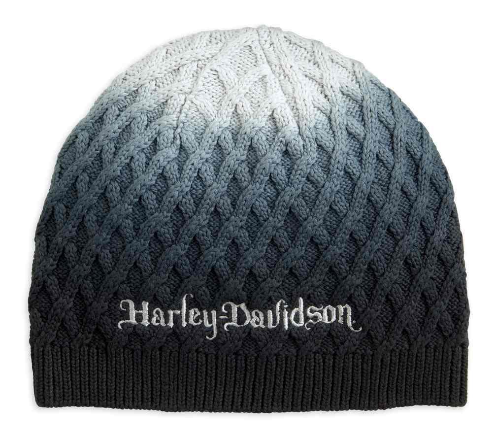 f4daa2dc52 Harley-Davidson Women's Ombre Knit-In Diamond Pattern Knit Beanie Hat  97619-18VW