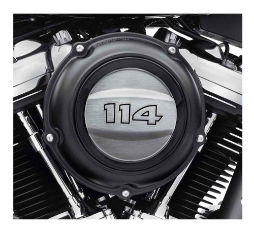 Harley-Davidson 114 Logo Air Cleaner Trim - Brushed Chrome Aluminum 61300787 - Wisconsin Harley-Davidson