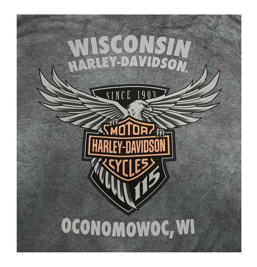 Harley-Davidson Men's 115th Anniversary Landing Long Sleeve Shirt, Blue Wash - Wisconsin Harley-Davidson