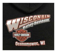 Harley-Davidson Men's Screamin' Eagle Logo Hooded Zip-Up Sweatshirt, Black - Wisconsin Harley-Davidson