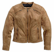 Harley-Davidson Women's Buff Washed Perforated Leather Jacket, Brown 97154-16VW - Wisconsin Harley-Davidson