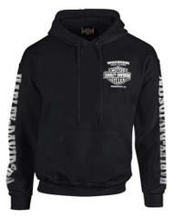 Harley-Davidson Men's Lightning Crest Pullover Hooded Sweatshirt, Black - Wisconsin Harley-Davidson