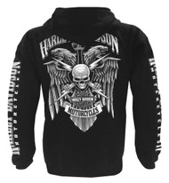 Harley-Davidson Men's Lightning Crest Full-Zippered Hooded Sweatshirt, Black - Wisconsin Harley-Davidson