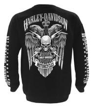 Harley-Davidson Men's Lightning Crest Fleece Pullover Sweatshirt, Black - Wisconsin Harley-Davidson