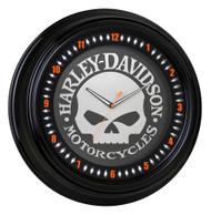 Harley-Davidson Classic Willie G Skull White Neon Clock, 18 inch HDL-16639 - Wisconsin Harley-Davidson