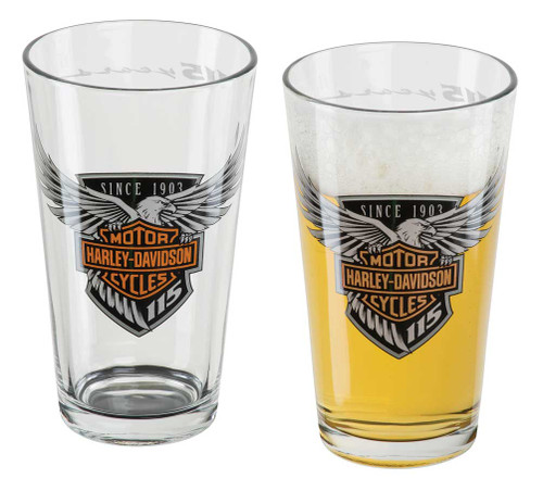 Harley-Davidson 115th Anniversary Etched Pint Glass Set, 16 oz. HDX-98700 - Wisconsin Harley-Davidson
