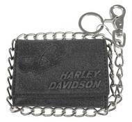 Harley-Davidson Men's Skull Graphite TriFold Short Leather Wallet UN4663L-GRYBLK - Wisconsin Harley-Davidson
