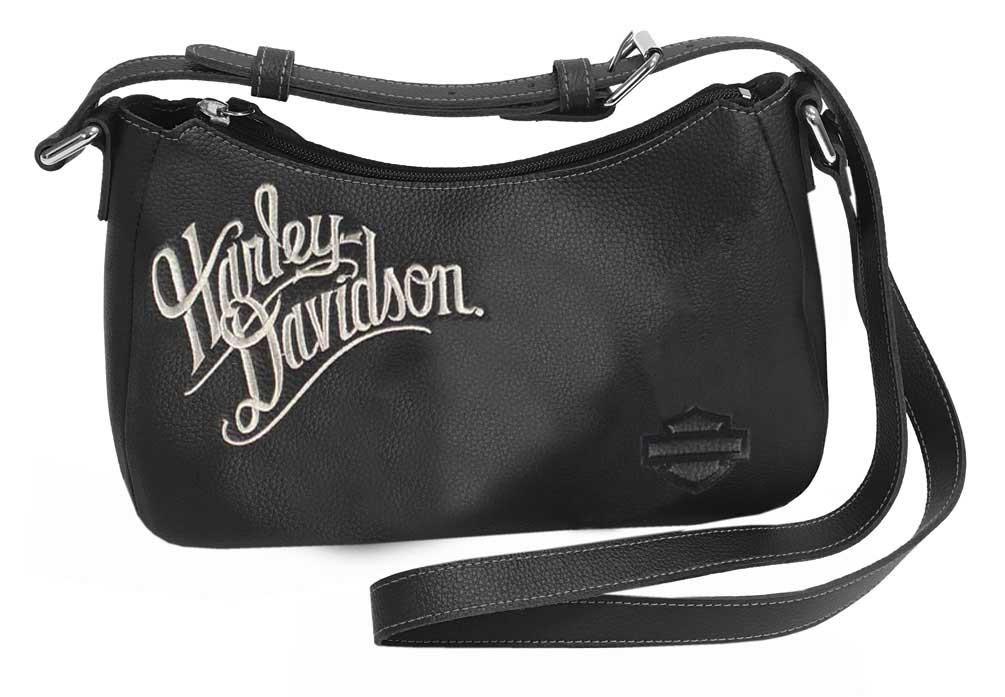 2ce422b34283 Harley-Davidson® Women's H-D Embroidery Leather Shoulder Bag ZWL1326-CRMBLK