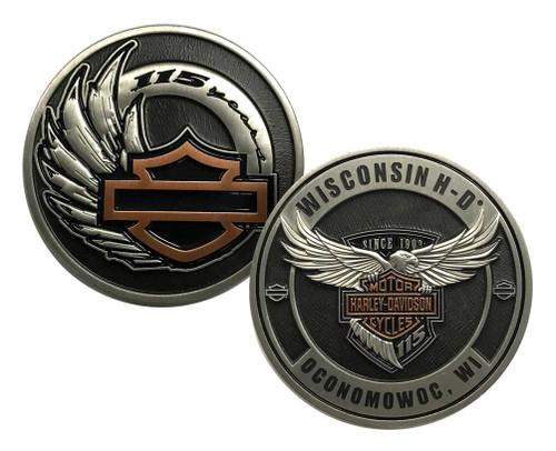 Harley-Davidson 115th Anniversary Dealer Collectors Challenge Coin, 8008376 - Wisconsin Harley-Davidson