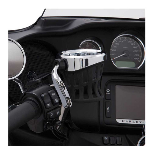 Ciro Drink Holder Perch Mount. Silver or Black Chrome Finish 50410, 50411. - Wisconsin Harley-Davidson