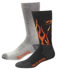 Harley-Davidson Men's Performance Flames Wool Riding Socks, 2 Pk. D99210270-001 - Wisconsin Harley-Davidson