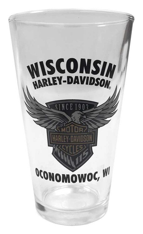Harley-Davidson 115th Anniversary Wisconsin H-D Pint Glass, 16 oz. PGCUS25823 - Wisconsin Harley-Davidson