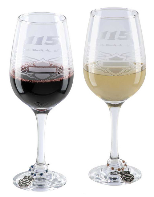 Harley-Davidson 115th Anniversary Wine Glass Set, Set of 14oz. Glasses HDX-98702 - Wisconsin Harley-Davidson