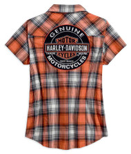 Harley-Davidson Women's Genuine Oil Can Plaid Short Sleeve Shirt 99071-18VW - Wisconsin Harley-Davidson