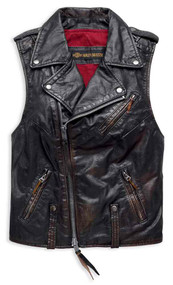 Harley-Davidson Women's Swingarm Vintage Leather Biker Vest, Black 98035-18VW - Wisconsin Harley-Davidson