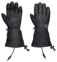 Harley-Davidson Women's Heated BTC 12V Leather Gauntlet Gloves, Black 98322-17VW - Wisconsin Harley-Davidson