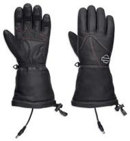 Harley-Davidson Women's Heated BTC 12V Leather Gauntlet Gloves, Black 98322-17VW - Wisconsin Harley-Davidson