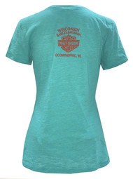 Harley-Davidson Women's Boots On Fire Deep V-Neck Short Sleeve Tee 5J05-HF2U - Wisconsin Harley-Davidson