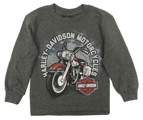 Harley-Davidson Big Boy's Biker Sidekick Long Sleeve Shirt, Charcoal Heather - Wisconsin Harley-Davidson