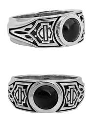 Harley-Davidson Men's Black Tribal Onyx B&S Ring, Sterling Silver HDR0472 - Wisconsin Harley-Davidson