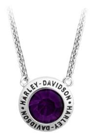 Harley-Davidson Women's Valentines Purple Stone Gift Necklace, Silver HDN0401-16 - Wisconsin Harley-Davidson