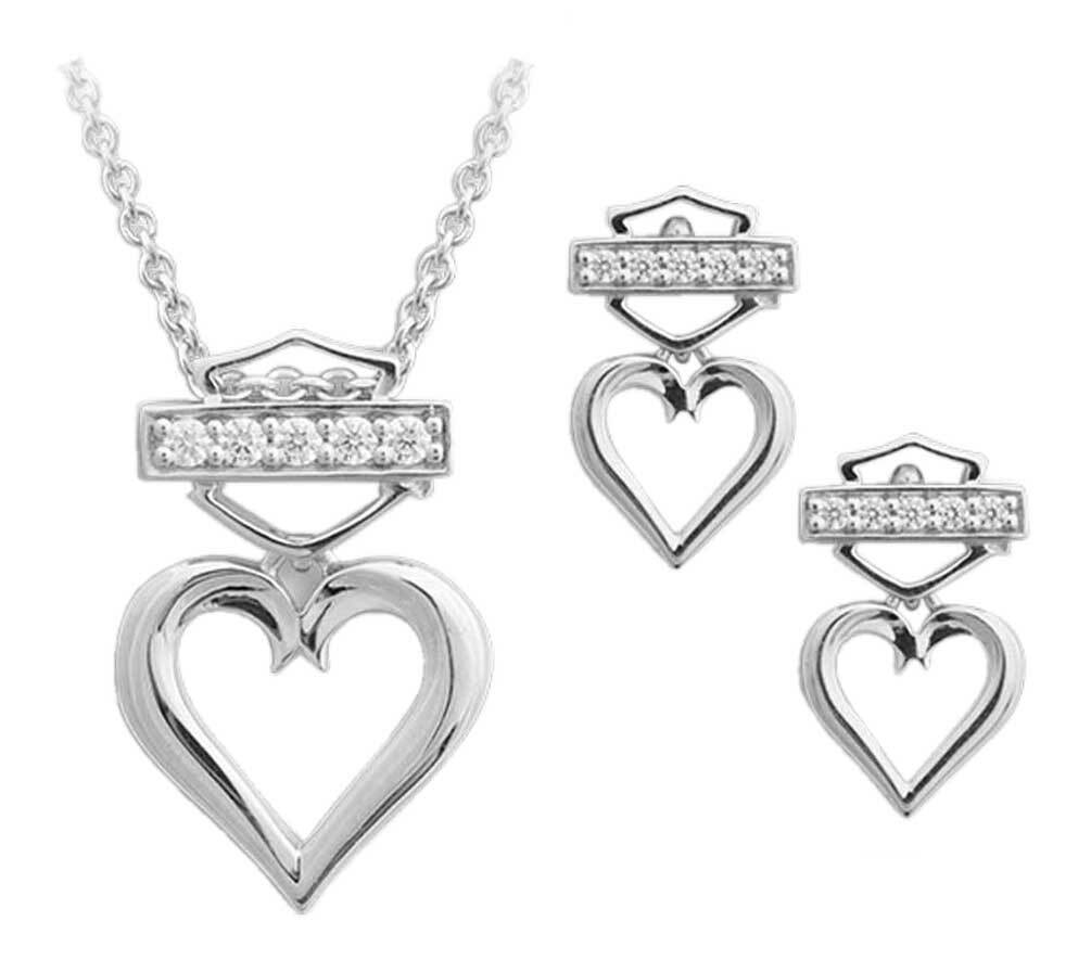 bbe90a7d1 Harley-Davidson Women's Bling Heart Necklace & Post Earrings Gift Set  HDS0008-18 -