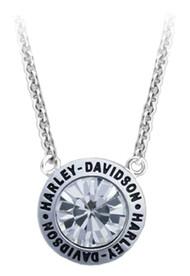 Harley-Davidson Women's Valentines White Stone Gift Necklace, Silver HDN0402-16 - Wisconsin Harley-Davidson