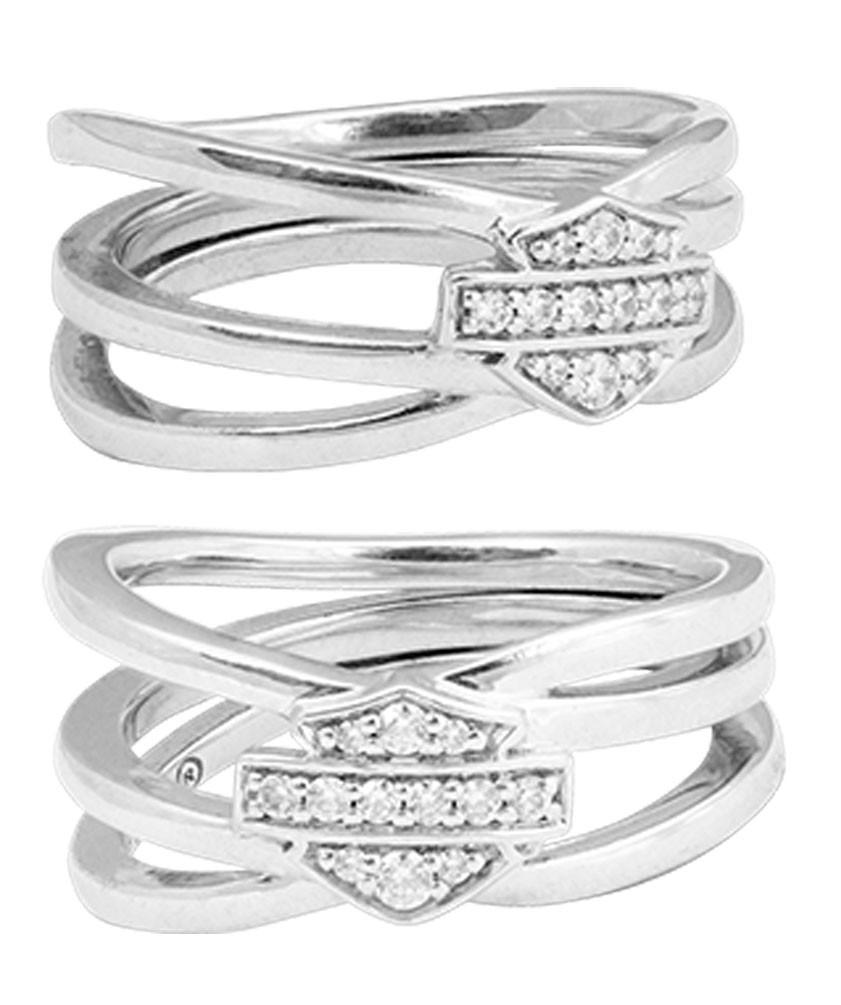 Harley-Davidson® Women's Twisted Bling Bar & Shield Ring, Silver Finish  HDR0469