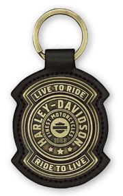 Harley-Davidson Harley Shield Antiqued Bronze & Leather Fob Keychain KY27868 - Wisconsin Harley-Davidson