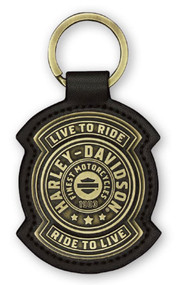 Harley-Davidson Harley Shield Antiqued Bronze & Leather Fob Keychain KY27868 - Wisconsin Harley-Davidson