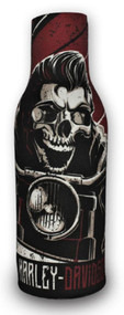 Harley-Davidson Rockabilly Skull Neoprene Zippered Bottle Wrap, Black BZ27481 - Wisconsin Harley-Davidson