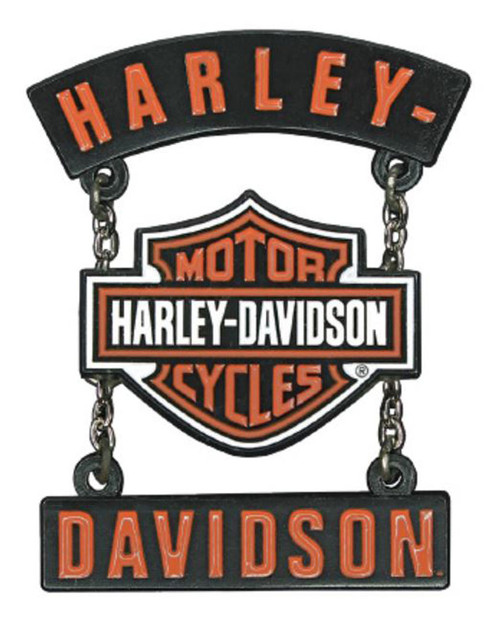Harley-Davidson 3D Die Cast H-D B&S Rockers Pin w/ Silver Chains, Black P283664 - Wisconsin Harley-Davidson
