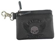Harley-Davidson Women's Embossed Skull Zippered Coin Pouch, Black ZWL8264-GRYBLK - Wisconsin Harley-Davidson