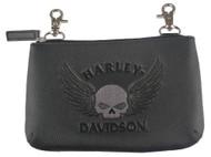 Harley-Davidson Womens Embossed Skull Hip Bag w/ Detachable Strap ZWL8249-GRYBLK - Wisconsin Harley-Davidson