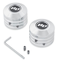 Harley-Davidson Defiance Front Axle Nut Covers - Chrome Finish 43000062 - Wisconsin Harley-Davidson