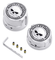 Harley-Davidson Willie G Skull Rear Axle Nut Covers, Chrome Finish 41706-09A - Wisconsin Harley-Davidson