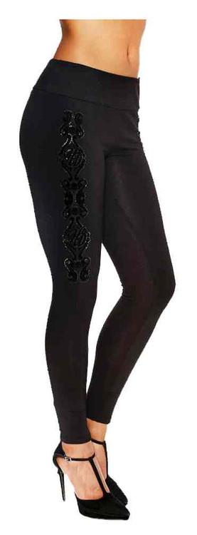 Harley-Davidson Women's Blossom Embellished & Flocked Design Leggings, Black - Wisconsin Harley-Davidson