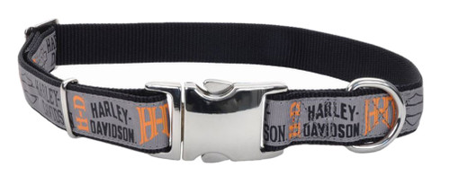 Harley-Davidson 5/8in Adjustable Ribbon Pet Collar - X-Small 12 in. H6471HHLG12 - Wisconsin Harley-Davidson