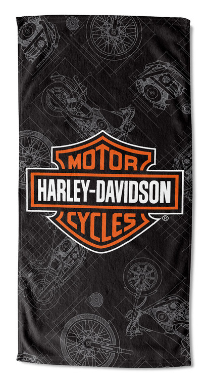 Harley-Davidson Blueprint B&S Beach Towel, 30 x 60 inch, Black/Orange NW997196 - Wisconsin Harley-Davidson