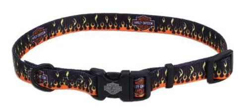 Harley-Davidson Adjustable Flames Bar & Shield Dog Collar - Black & Orange - Wisconsin Harley-Davidson