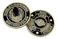 Harley-Davidson Heritage Bar & Shield Challenge Coin, 1.75in, Black/Gold 8008604 - Wisconsin Harley-Davidson