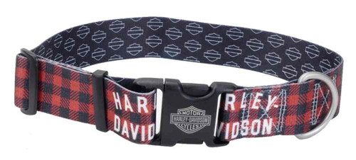 Harley-Davidson 1.5 in. Adjustable Muscle Plaid Dog Collar - Large, Red - Wisconsin Harley-Davidson