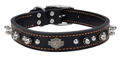 Harley-Davidson 1 in. Adjustable Leather Spiked Collar - Black w/ Orange Thread - Wisconsin Harley-Davidson